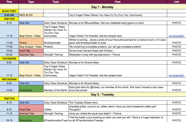esempio calendario editoriale